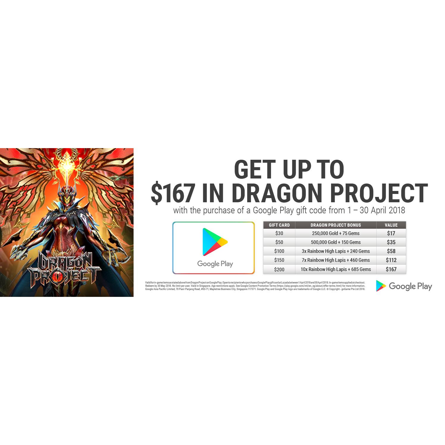 Google Play Gift Code SGD 100 [April Promotion Bonus - Get up to $167 in Dragon Project]