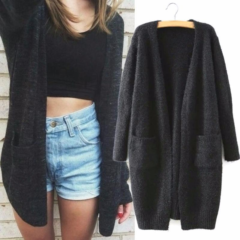 Women Long Sleeve Knitted Cardigan Loose Sweater Outwear Jackets Coat Casual Top - intl