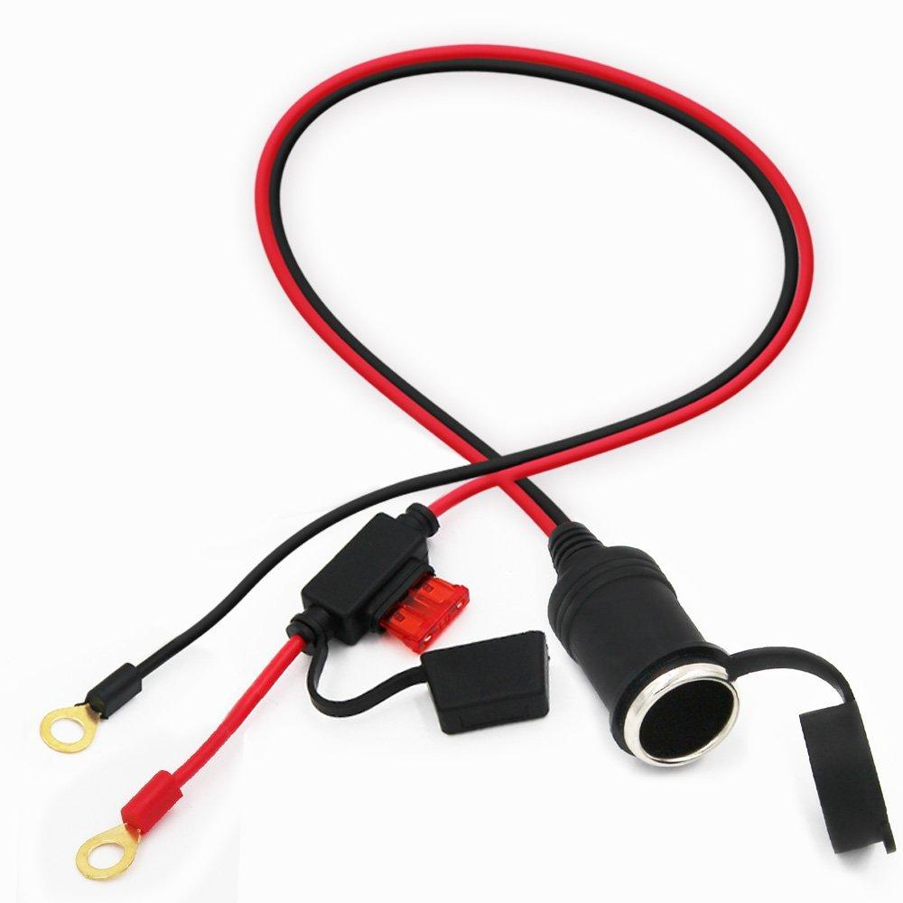 car jump cable cigarette socket female to rings terminal with fuse