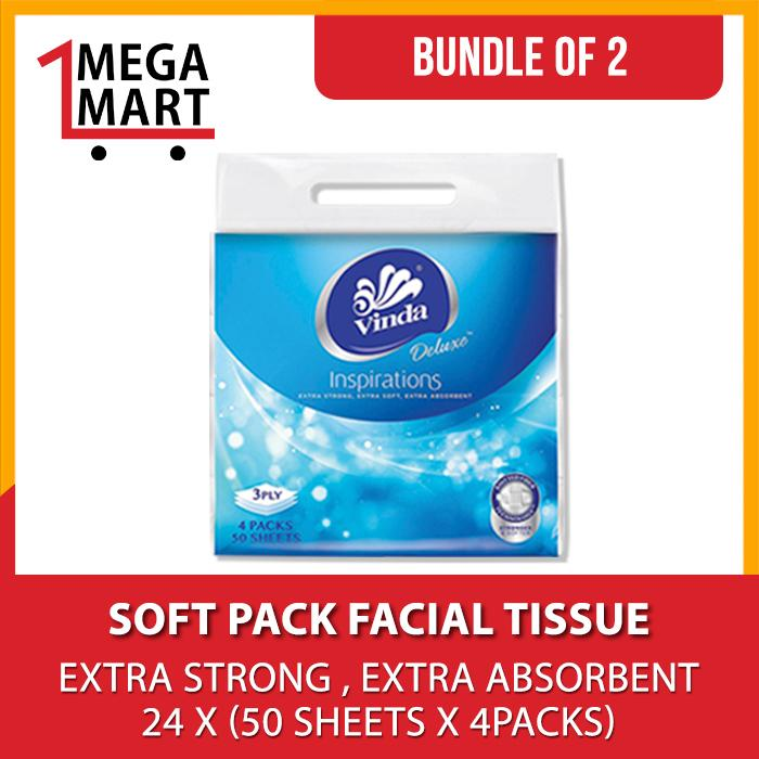 (Bundle of 2) Deluxe Soft Pack Facial Tissue 24 x (50s x 4packs)