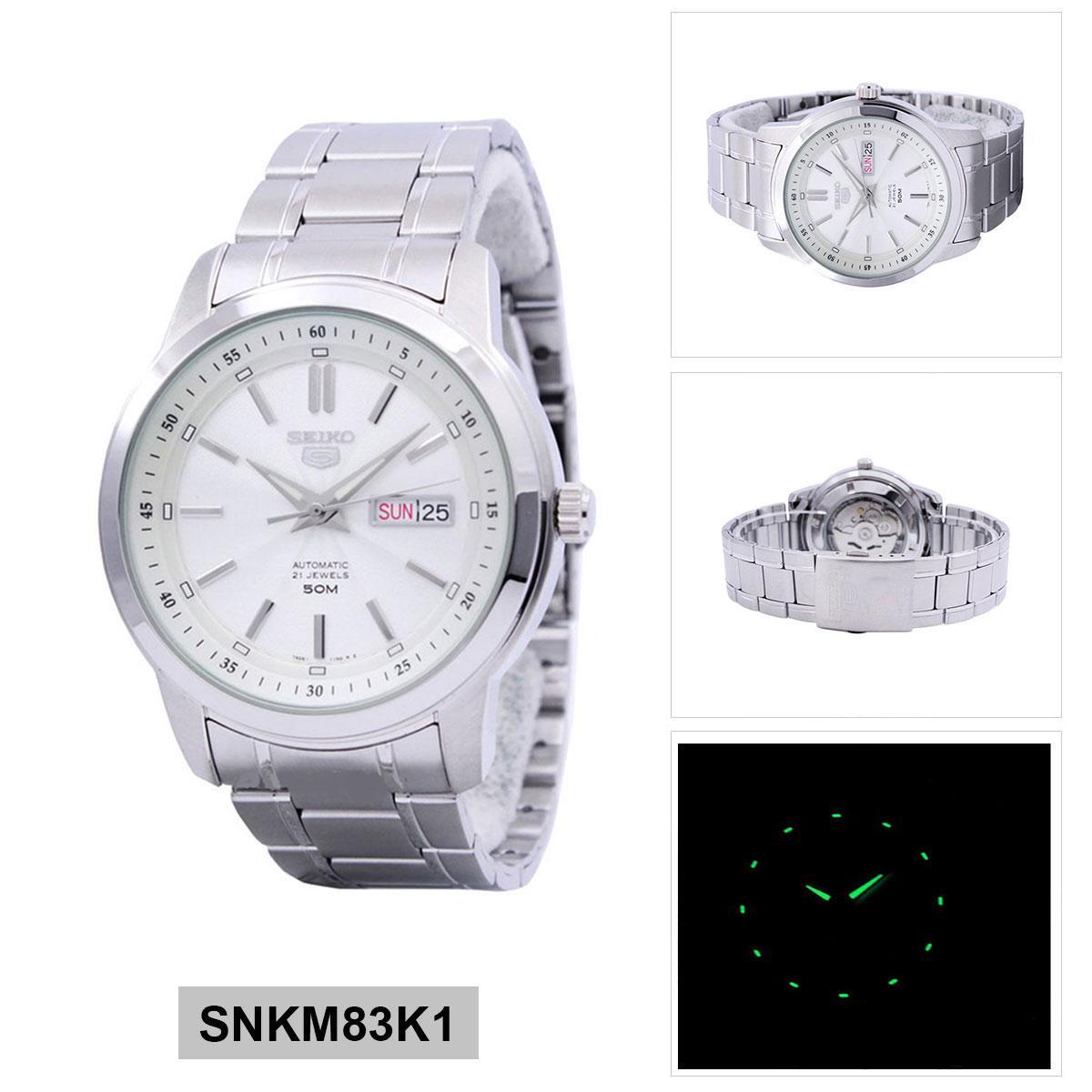Seiko Seiko 5 Automatic Silver Stainless-Steel Case Stainless-Steel Bracelet Mens SNKM83K1