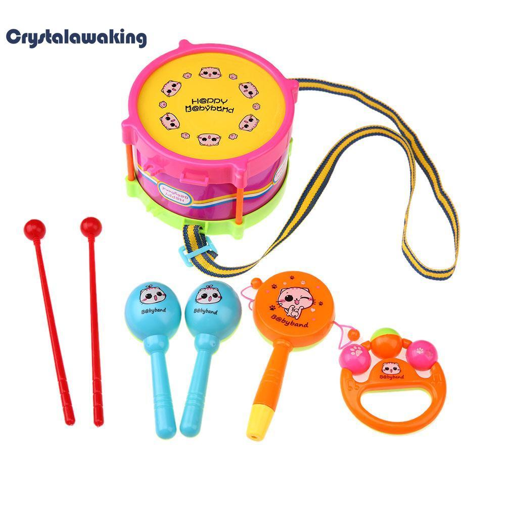 5pcs Kids Toy Set Roll Drum Musical Instrument Band Kit - intl