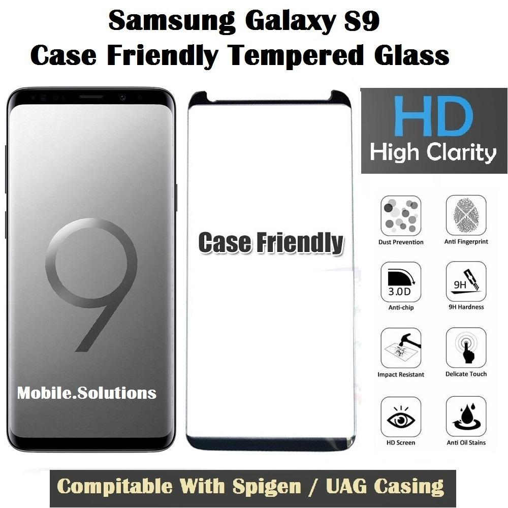 Samsung S9 Full Coverage Tempered Glass (Case Friendly) (Black)