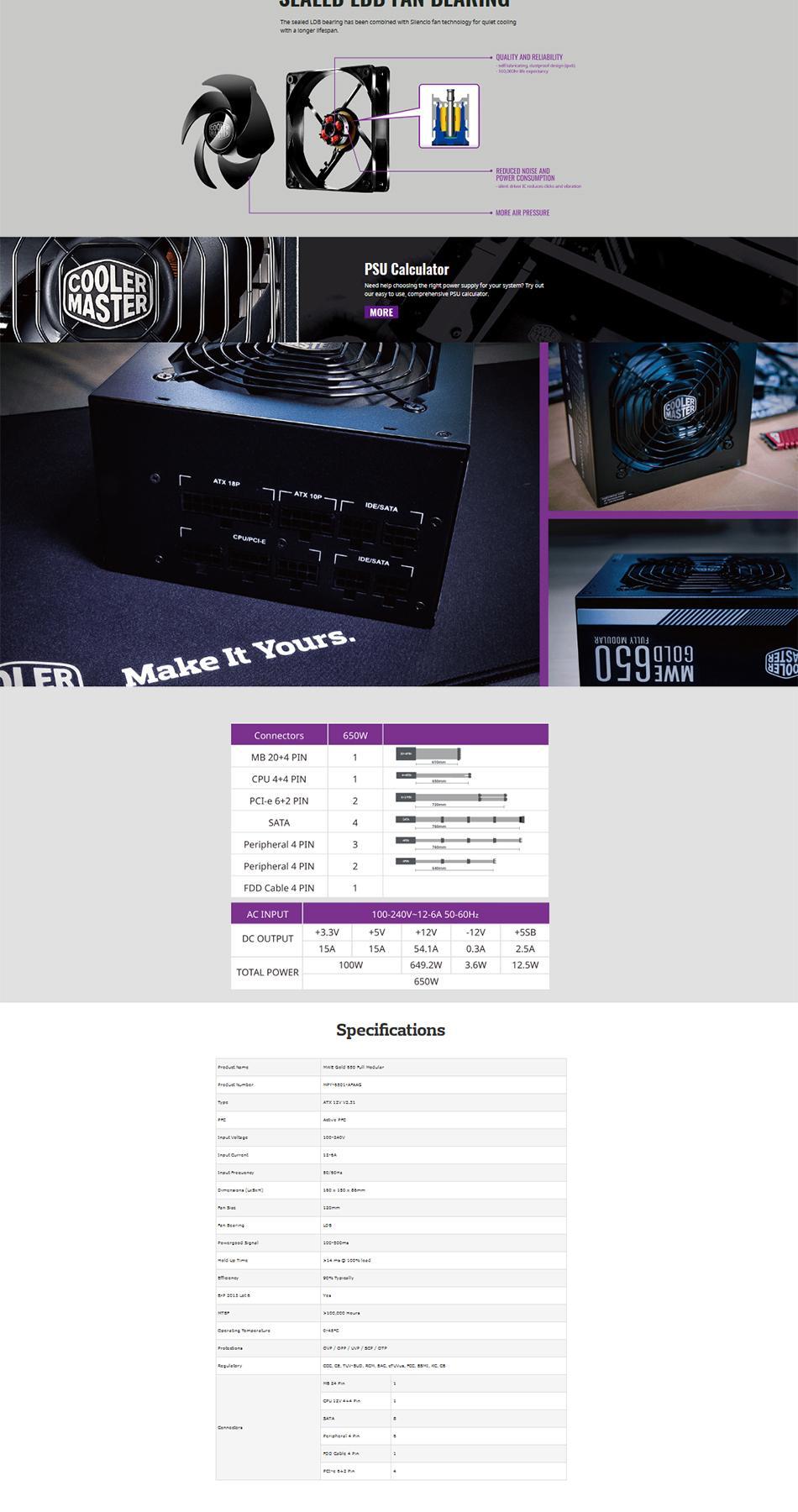 Cooler Master Mwe Gold 650 Full Modular 80 Power Supply Mpy 6501 Afaag Eu 2b