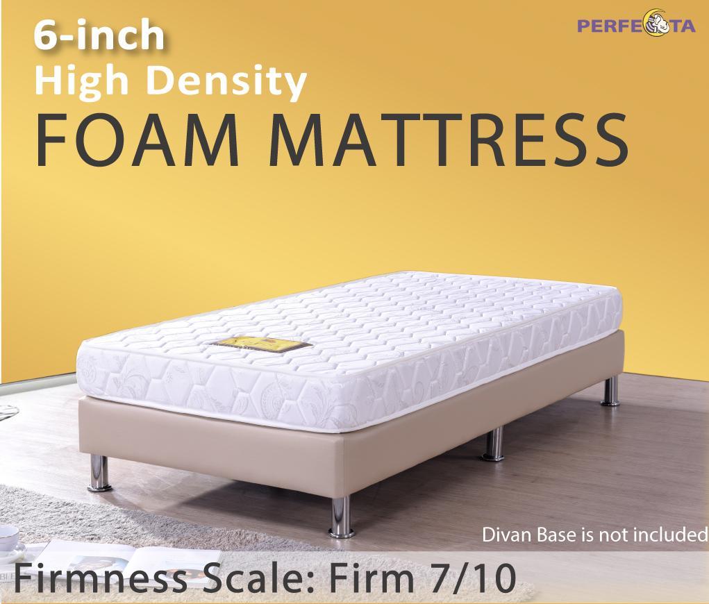 single size 6 inch perfecta high density foam mattress firm