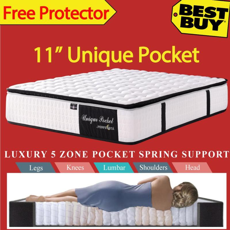 Queen Size * Unique Pocket Mattress * 11 inches * 5 Zone Individually Pocketed Spring * Free Protector