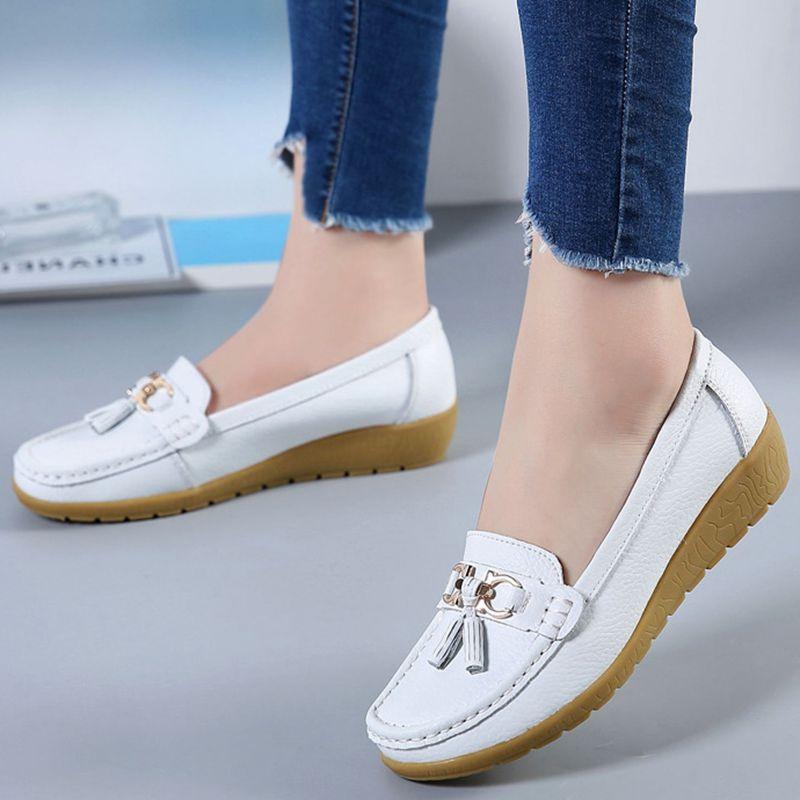 Best Selling Invisible higher leather Boat Shoes bean shoes lady flat low-heeled shoes comfortable shallow mouth slip casual shoes Loafers (white) - intl