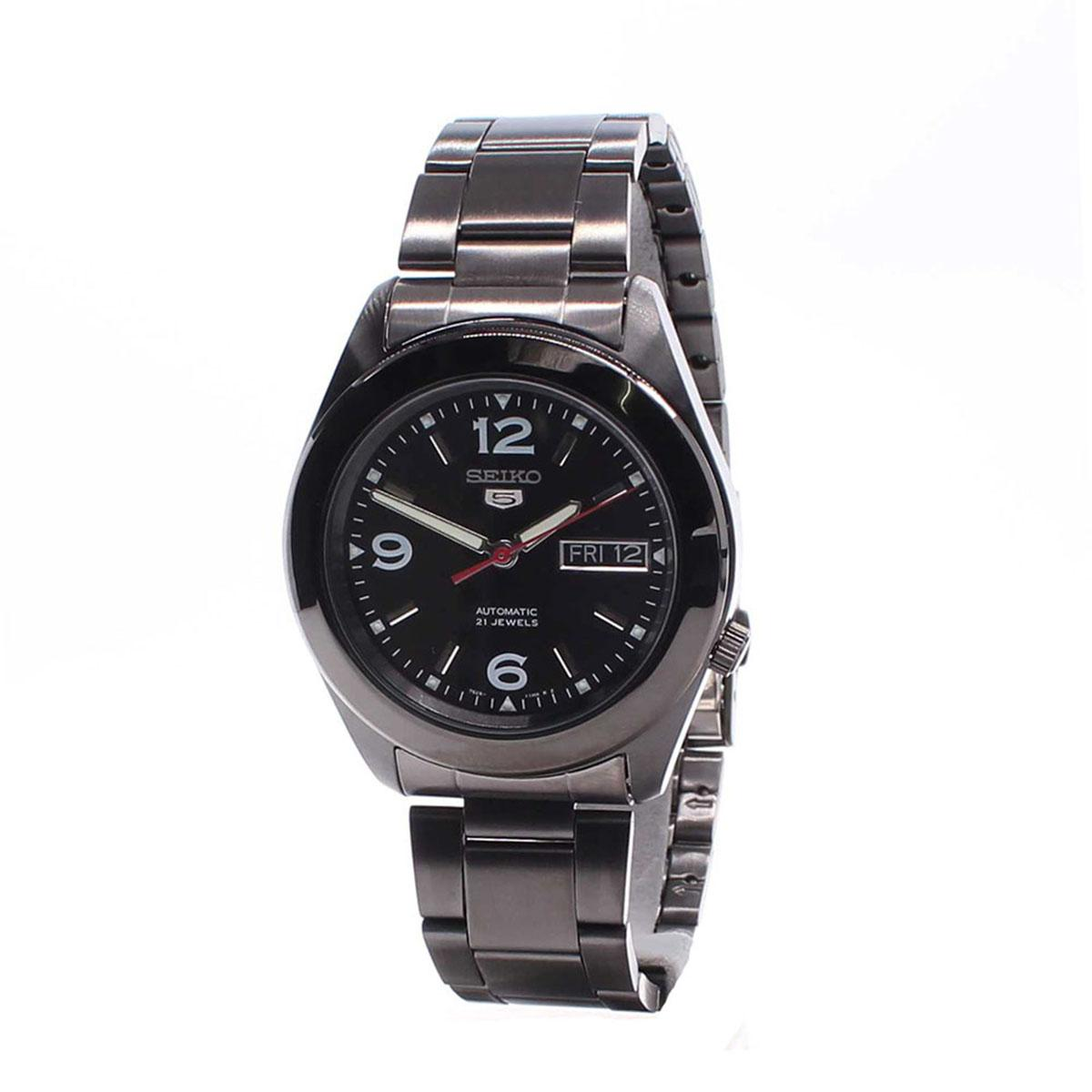 Seiko Watch 5 Automatic Black Stainless-Steel Case Stainless-Steel Bracelet Mens SNKM79K1