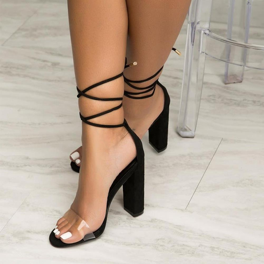 Women big size 40 crystal thick high heels sandals Plus-sized sandals