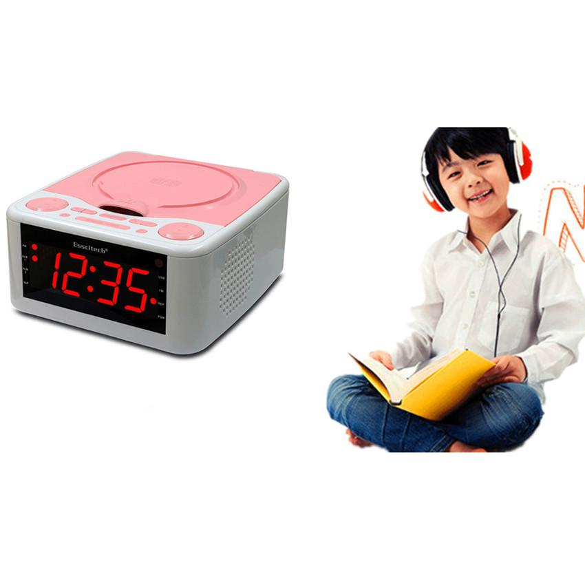 German Design Multi-Functional Portable CD Player Stereo Speakers Alarm Clock USB Prenatal Music Clocked CD Drive Mp3 Player with FM Radio +100Pcs Double Side CD Bags - intl