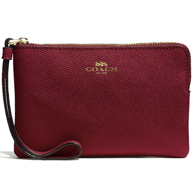 Coach Corner Zip Wristlet In Crossgrain Leather Crimson Red # F58032 + Gift Receipt
