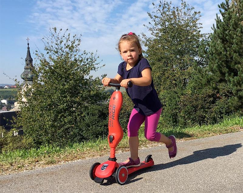 scoot and ride highwaykick 1 convertible 3 wheel kick scooter with girl rider