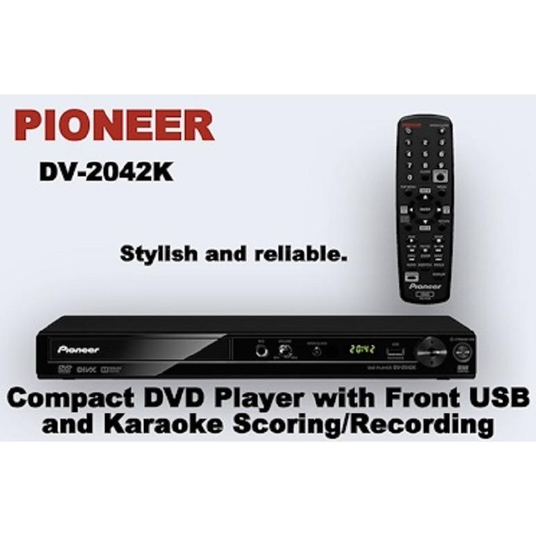 PIONEER DV-2042K Compact DVD Player with Front USB and Karaoke Scoring/Recording