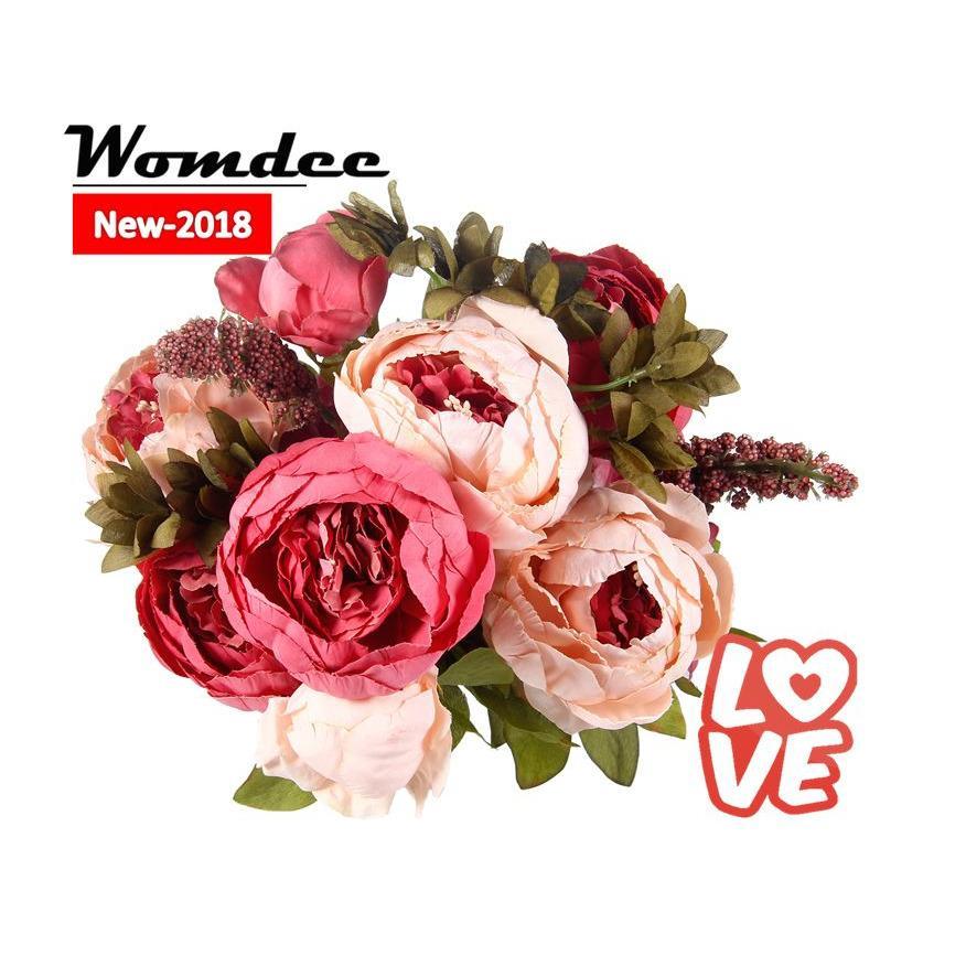 Womdee 13 Pcs HIGHT Quality Silk Flower European 1 Bouquet Artificial Flowers Fall Vivid Peony Fake
