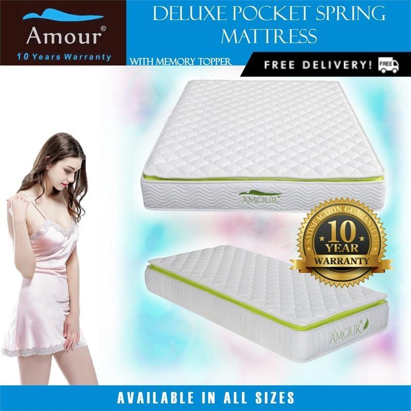 Amour® Pocket Spring Mattress with Memory Foam Top Single/Super Single/Queen/King Size Available Free delivery 10 years warranty