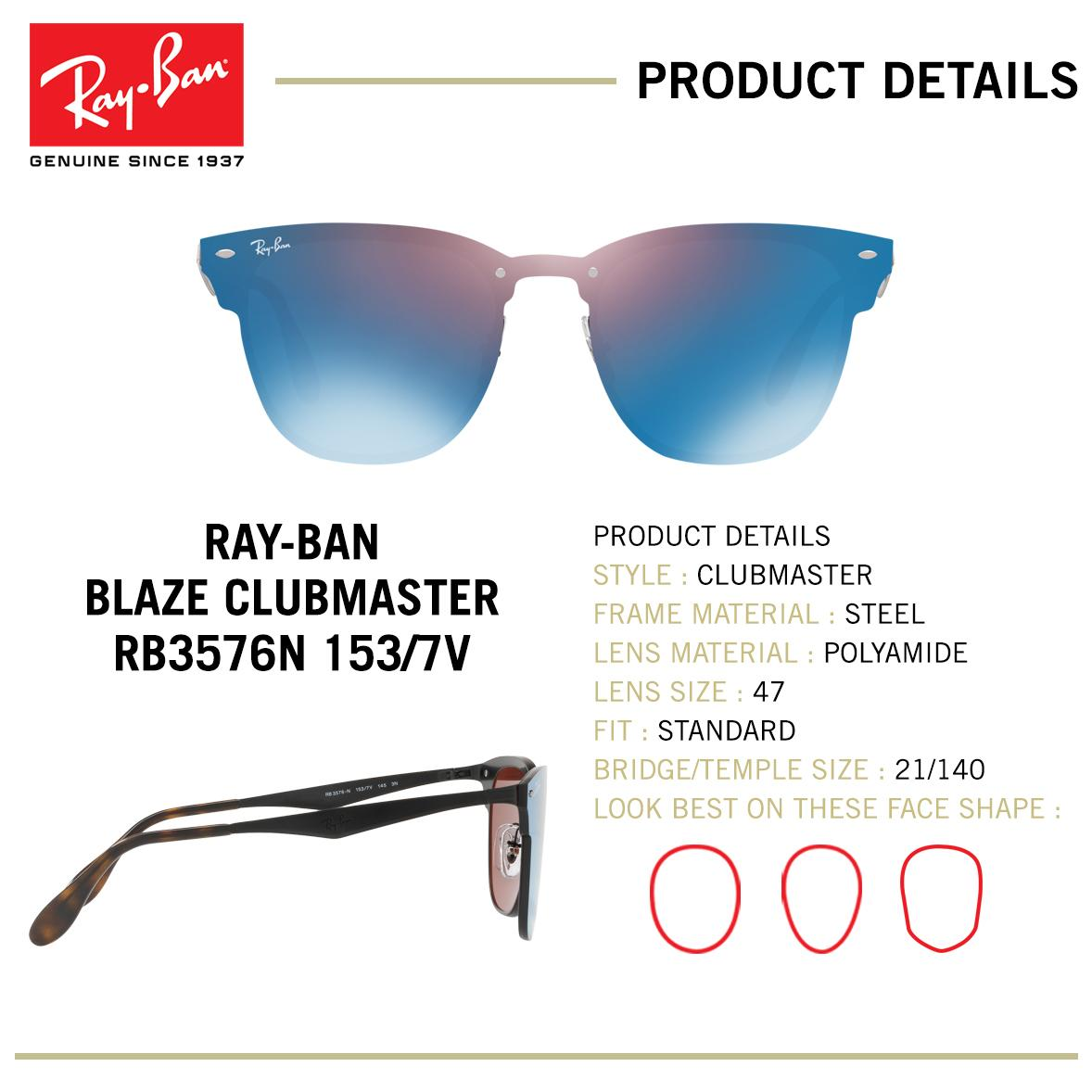 a3bcef67fb Ray-Ban Sunglasses Blaze Clubmaster - RB3576N 153 7V - size 47