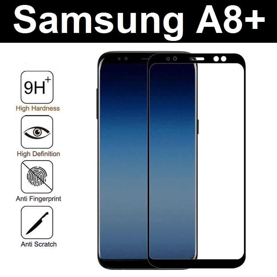 (Black) Samsung Galaxy A8+ A8 Plus (2018) Full Coverage Tempered Glass Screen Protector