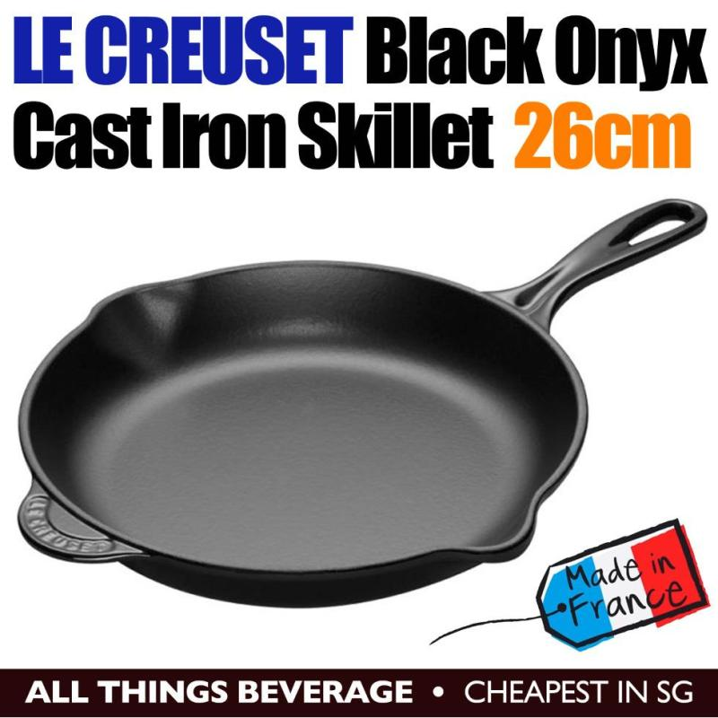 Le Creuset Cast Iron Round Skillet Pan 26cm Black Onyx Singapore