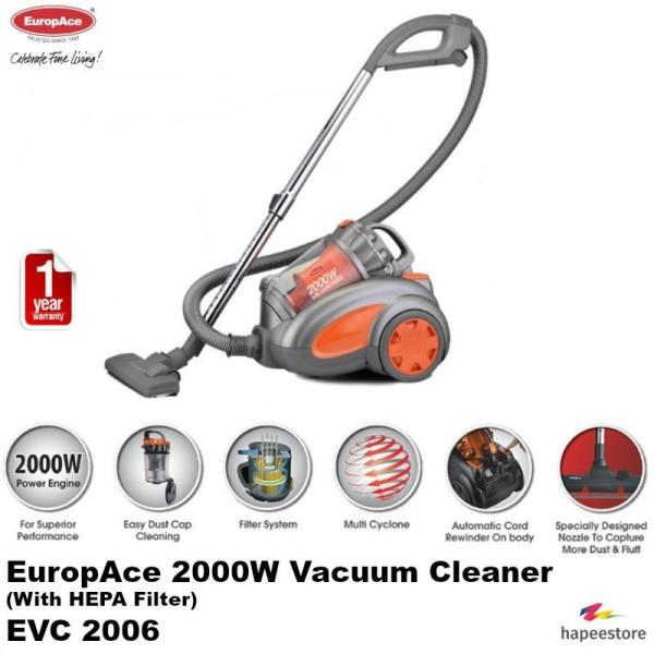 EuropAce Vacuum Cleaner With HEPA Filter - EVC2006P (1 Year Warranty) Singapore