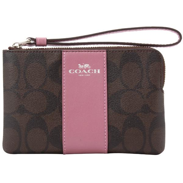 Coach F58035 Corner Zip Crossgrain Signature Leather Wristlet