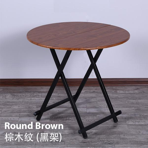 Colorful Round Folding Portable Foldable Table   Brown 58 X 54cm