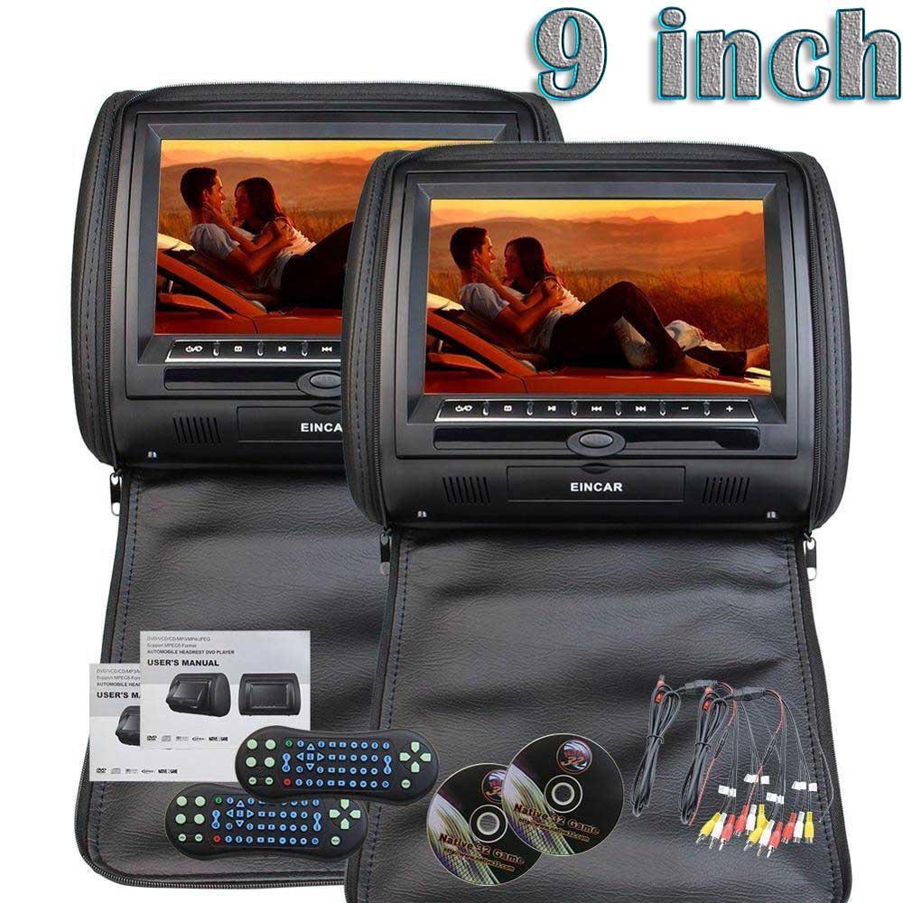 2 x EinCar 9 Inch Digital Display Screen Headrests DVD Player Monitor Car Seat Headrest Support