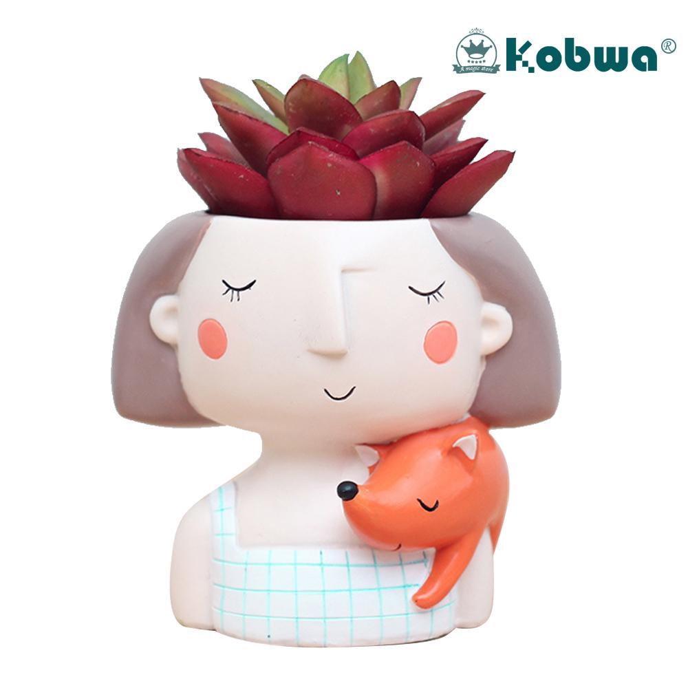 Kobwa Cartoon Girl Design Succulent Plant Pot Cactus Flower Pot Home Decoration(Fox Girl Without Plant) - intl