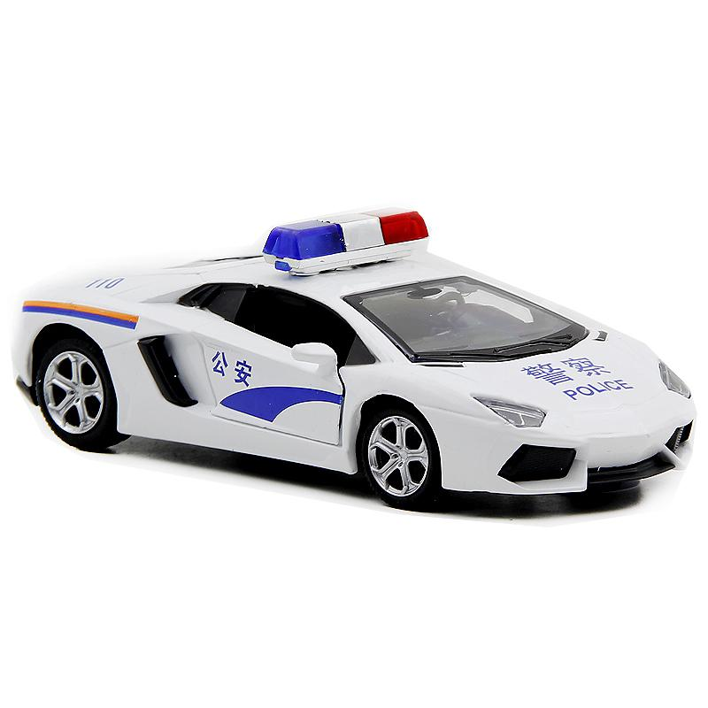 Lamborghini alloy model door opening children's toy car police car
