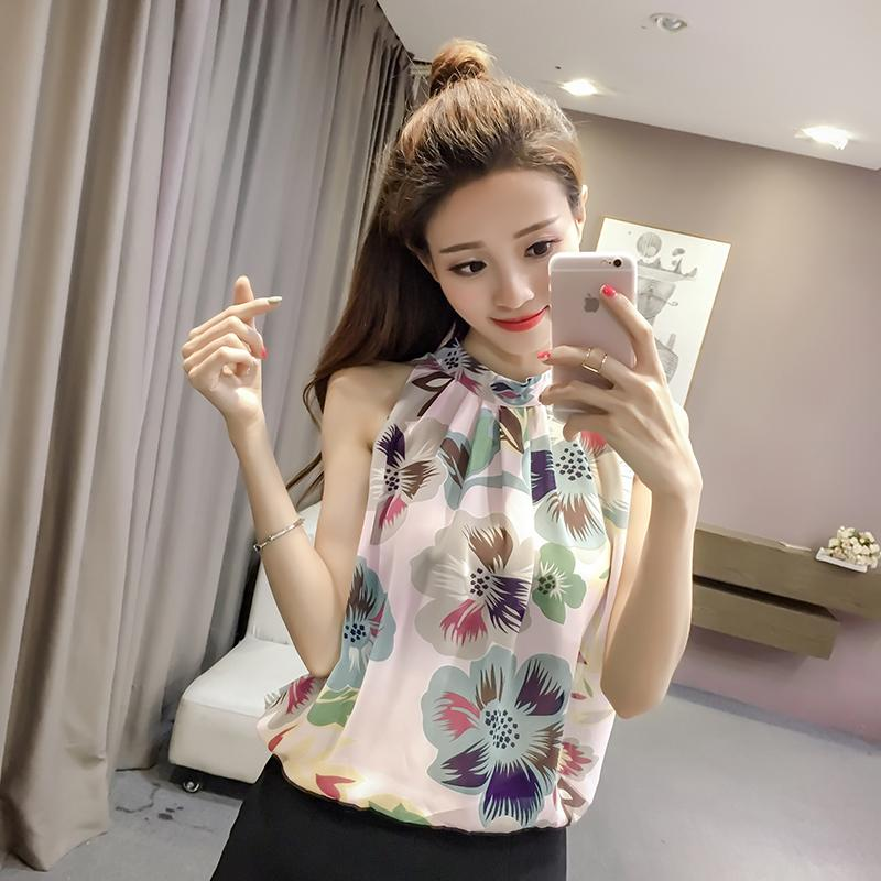 Loose Korean-style printed slimming Top sleeveless chiffon blouse