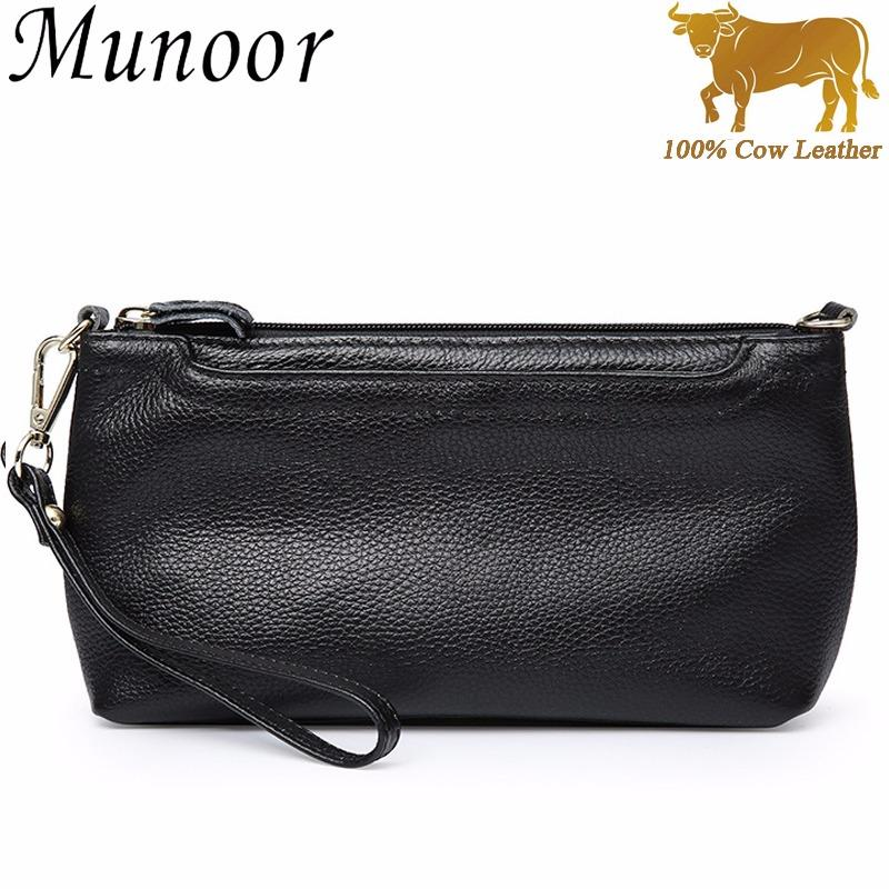 Munoor High Quality Top Grain 100% Genuine Leather Women Clutch Wallet Wristlets Shoulder Bag