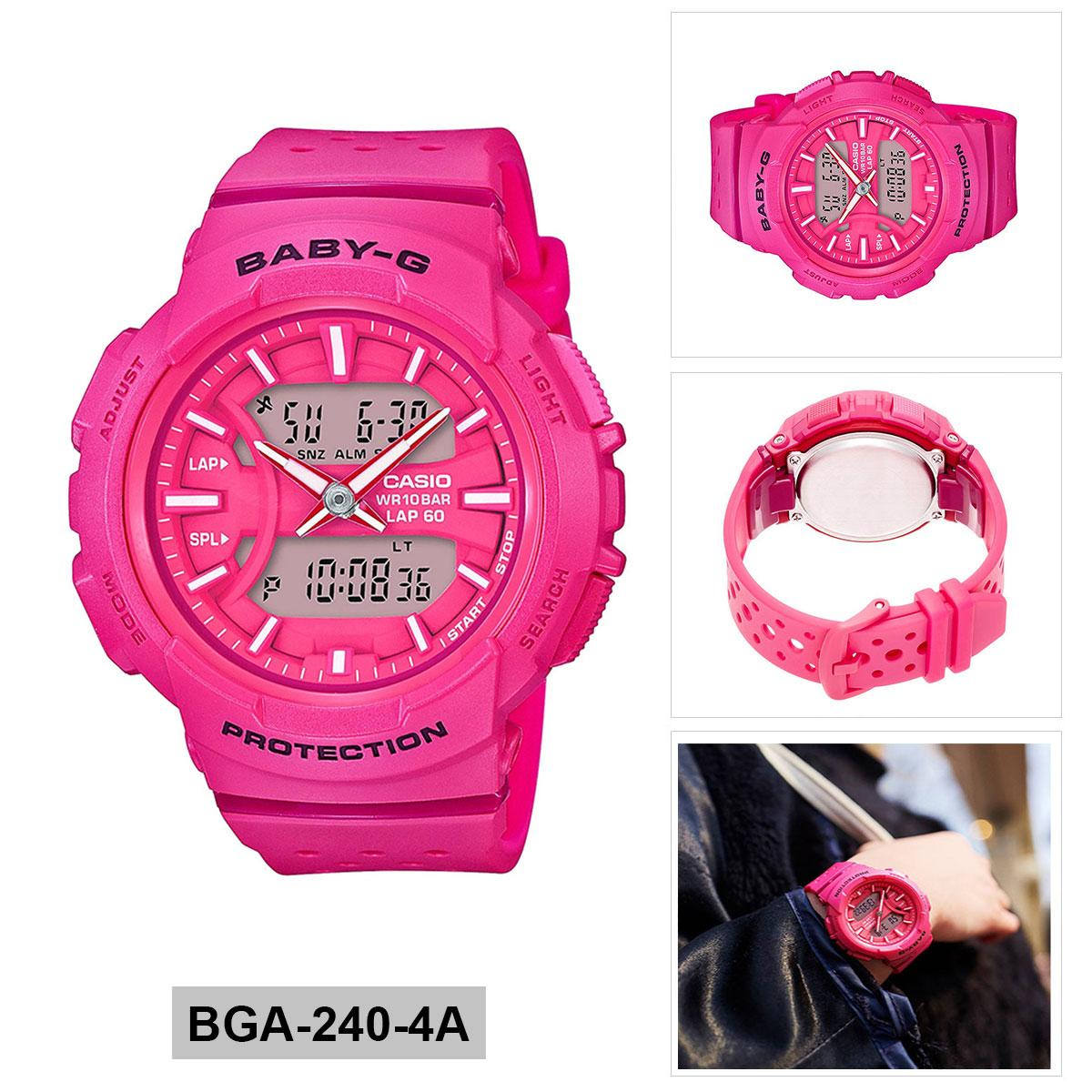 Casio Casio Baby-G For running Pink Resin Case Resin Strap Ladies BGA-240-4A ...