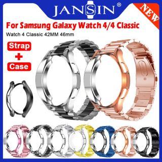 Vỏ đồng hồ + dây đeo kim loại cho Samsung Galaxy Watch4 Cổ điển 42mm 46mm Vỏ bảo vệ Dây đeo cổ tay Dây đeo cổ tay cho Samsung Galaxy Watch 4 Phụ kiện vòng đeo tay bằng thép không gỉ thumbnail