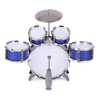 Children Kids Drum Set Musical Instrument Toy 5 Drums with Small Cymbal Stool Drum Sticks for Boys Girls - intl