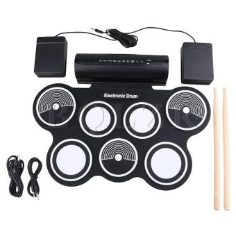 W759M Portable Roll-Up Flexible Electronic Drum Black - intl
