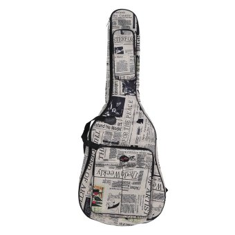 Harga 600D Water-resistant Oxford Cloth Newspaper Style Double Stitched Padded Straps Gig Bag Guitar Carrying Case for 40Inchs Acoustic Classic Folk Guitar (EXPORT)