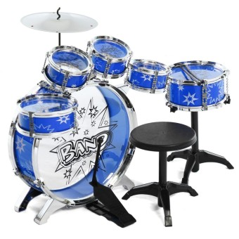 Kids Children Junior Drum Set Drums Kit Percussion Musical Instrument with Cymbal Drumsticks Adjustable Stool - intl