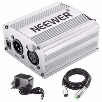 Neewer 1- Channel 48V Phantom Power Supply Silver Adapter One XLR Audio Cable for Condenser Microphone Music US Plug Recording Equipment - intl