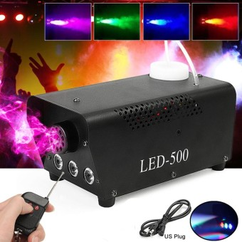 RGB LED Wireless Smoke Fog Machine 500W Stage DJ Disco Club Fogger PUB Remote UK Plug - intl