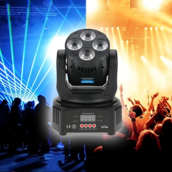 Tomshine 60W 4 LED RGBW+Amber+UV 6-IN-1 Washing Effect Moving Head Stage Light AC90-240V 16/18 Channels Support Sound Activation Auto DMX512 Master-Slave Mode for Party KTV Pub Bar School Show Wedding Ceremony - intl
