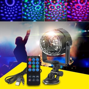 USB Mini Stage Effect Lighting Crystal Ball LED RGB Disco DJ Party KTV Club Show - intl