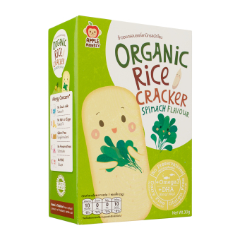 Harga Apple Monkey Organic Rice Crackers Spinach 30g, Bundle of 2