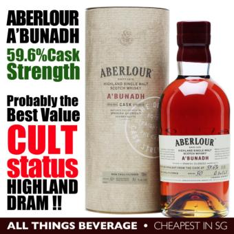 Harga Aberlour A'bunadh Cask Strength 59.6% Highlands Speyside SIngle Malt Whisky with Container IWSC 2015 Silver Award (Cheapest in SG)