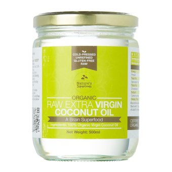 Harga Nature's Superfoods Organic Extra Virgin Coconut Oil 500ml in glass jar