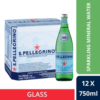 San Pellegrino Sparkling Natural Mineral Water, 750ml Glass Bottle(Case of 12)