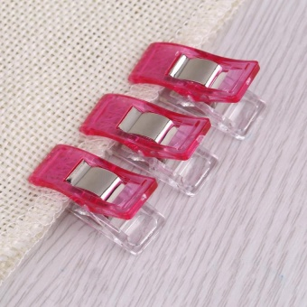 20pcs Plastic Clip For Quilting Sewing Knitting Fabric Binding Needlework Clamp (Rose Red) - intl
