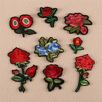 Kelebihan Ibelieve Punk Biker Embroidery Patch Skull Rose Iron On Source · 8pcs Red Rose Flower