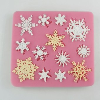 Harga Food grade silicone fondant mold dry pace silicone molding mold can do mold lace snowflake christmas decoration