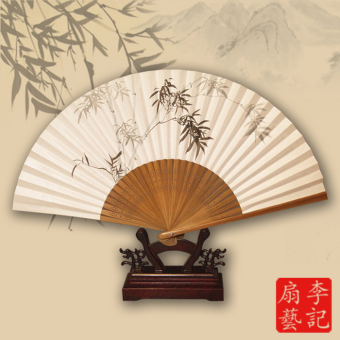 Harga Lee kee chinese style folding fan rice paper fan art fan painted inscriptions archaic craft white paper fan gift fan