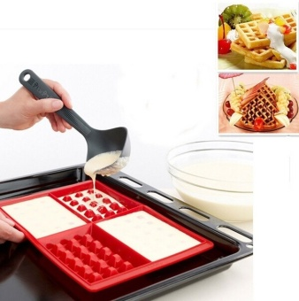 Harga 4 Cavity Waffles Chocolate Cake Pan Silicone Mold Baking Mould Kitchen Tool