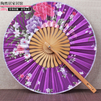 Harga 360 degree bendable japanese painting windmill fan round fan round fan of japanese and folding lady folding fan sub